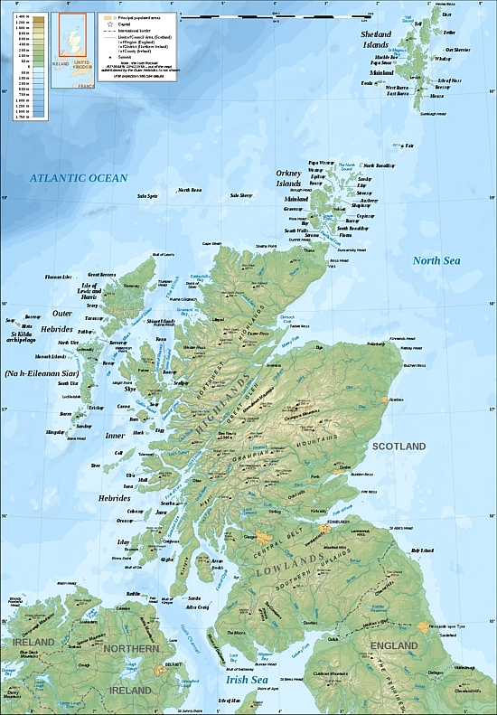 Topographic Map of Scotland
