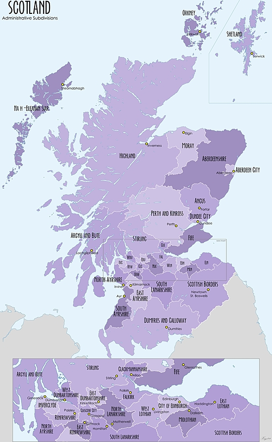 Map of the administrative divisions of Scotland